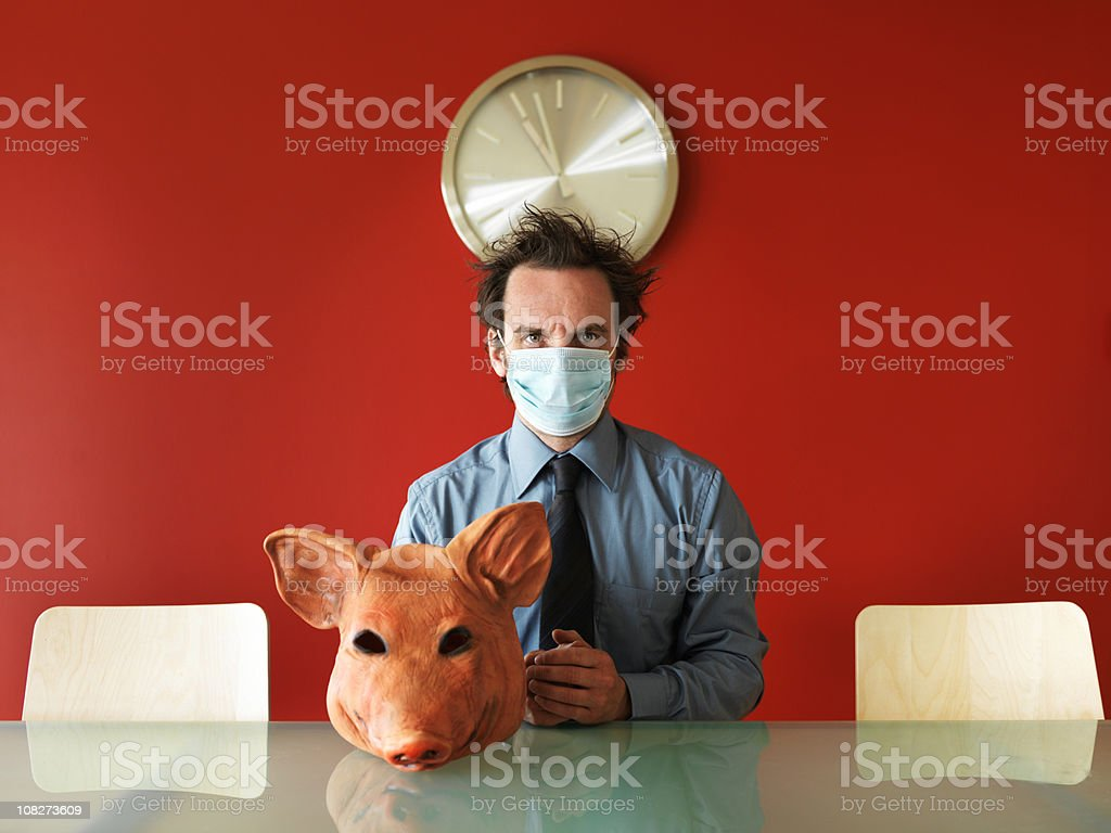 Swine Flu Concept, Man Wearing Mask with Pig Head stock photo