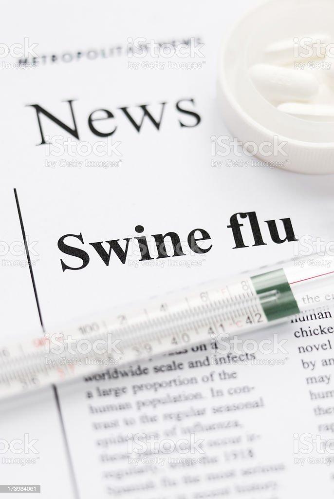 Swine (Influenza A) flu pandemic headlines - IV royalty-free stock photo