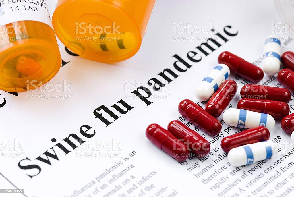 Swine (Influenza A/H1N1) flu pandemic headlines - VII royalty-free stock photo