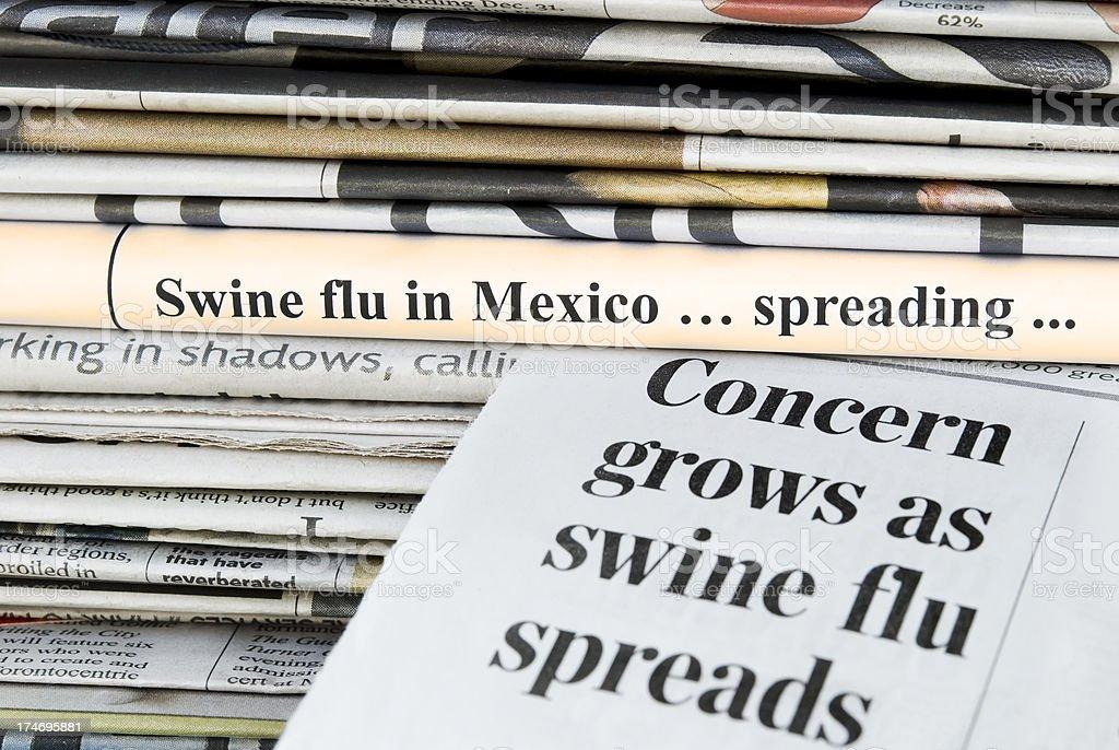 Swine (Influenza A/H1N1) flu pandemic headlines - X royalty-free stock photo