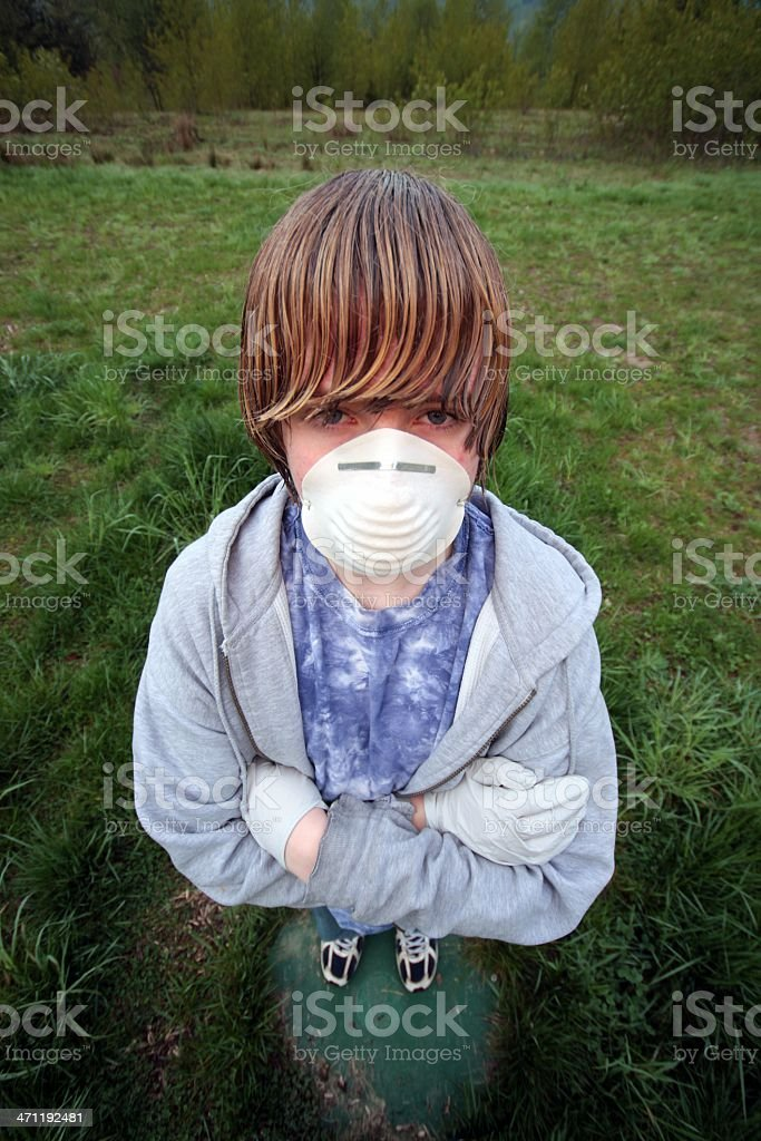 Swine Flu Pandemic Panic - Terrified Youth With Mask royalty-free stock photo