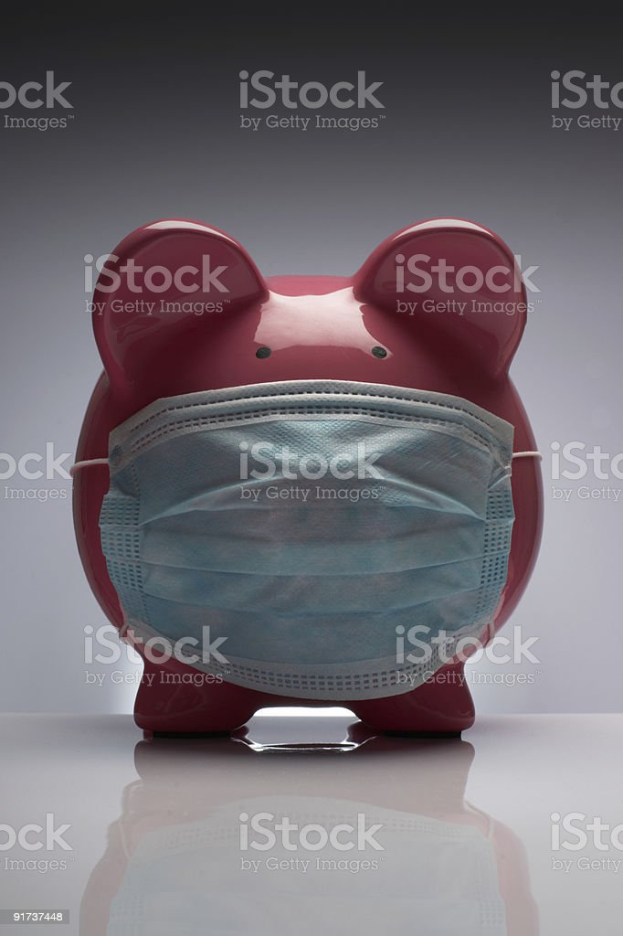 Swine flu pig with mask royalty-free stock photo