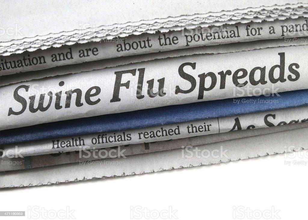 Swine Flu Spreads Headline stock photo