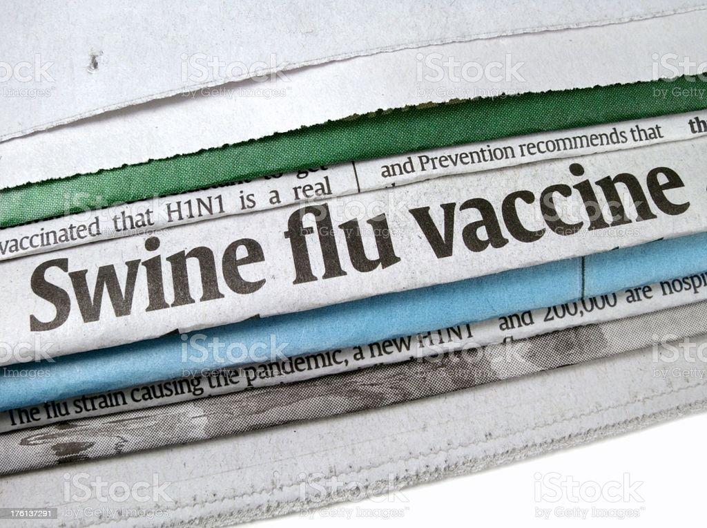 Swine Flu Vaccine Headline stock photo