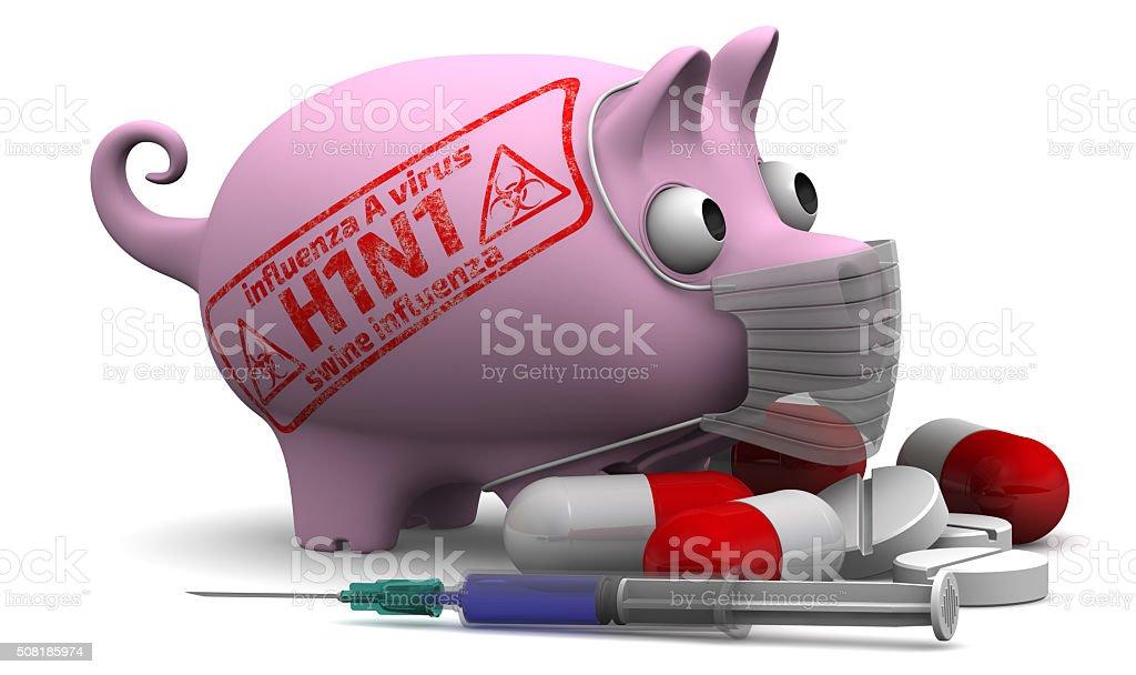 Swine influenza. Influenza A virus (H1N1). Concept stock photo