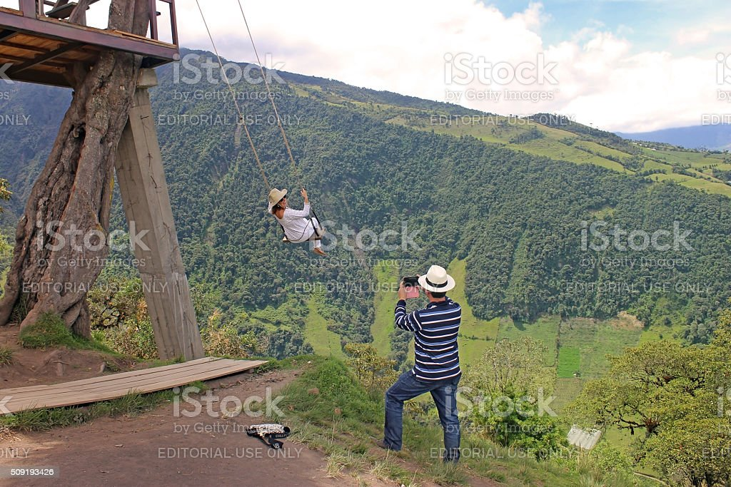 Swing at the End of the World - Baños, Ecuador stock photo