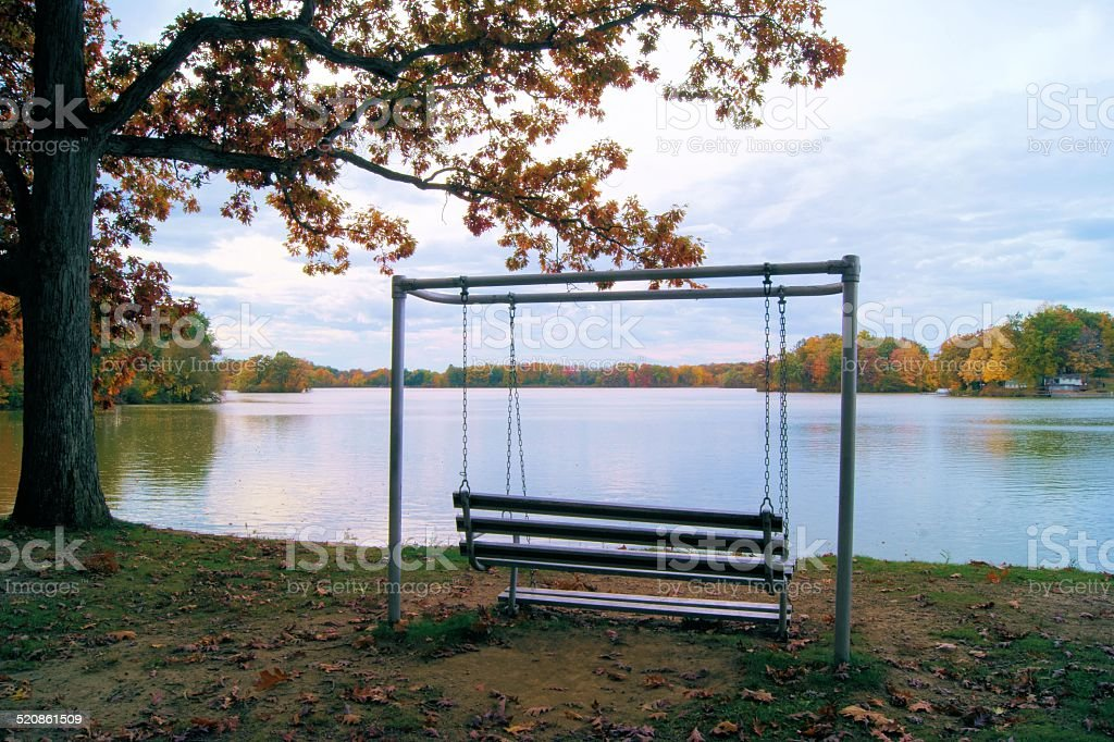 Swing by the lake stock photo