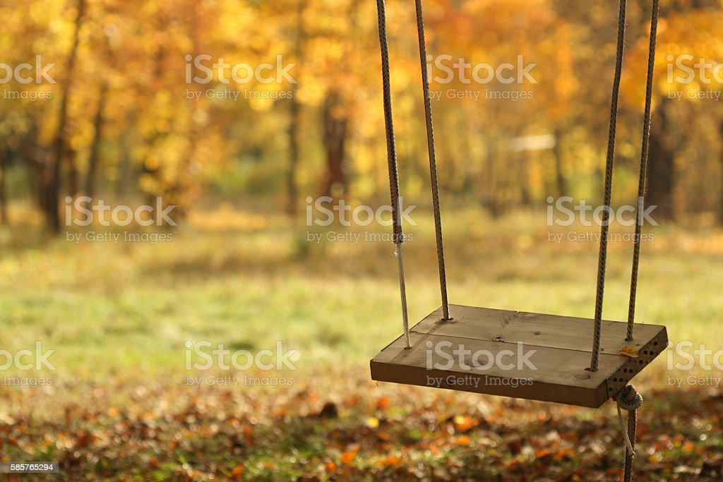 swing in autumn park stock photo