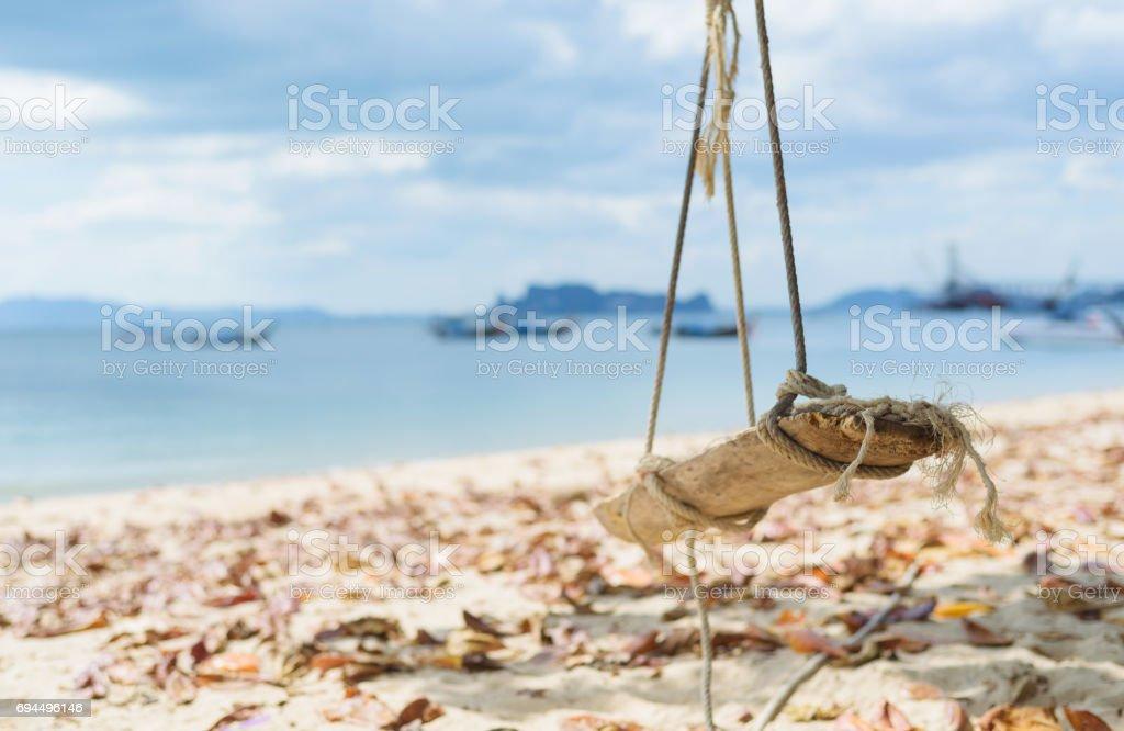 Swing in the beach stock photo