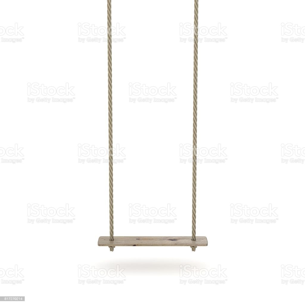 Swing made of rope and a wooden plank. 3D stock photo