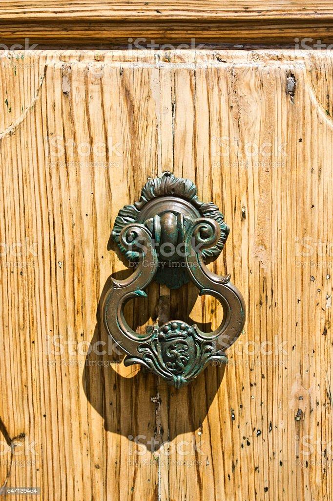 swing of ancient wood door stock photo