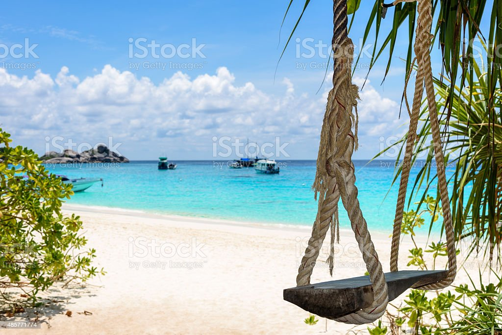 Swing on the beach at Koh Miang, Thailand stock photo