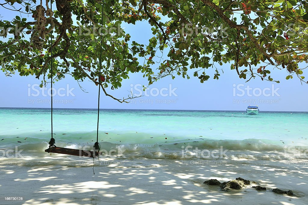 Swing on the beach at Similan island, Thailand. royalty-free stock photo