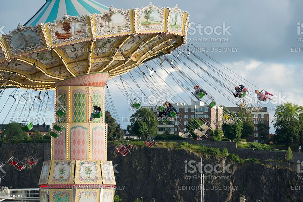 Swing ride at Grona Lund amuseument park in Stockholm stock photo