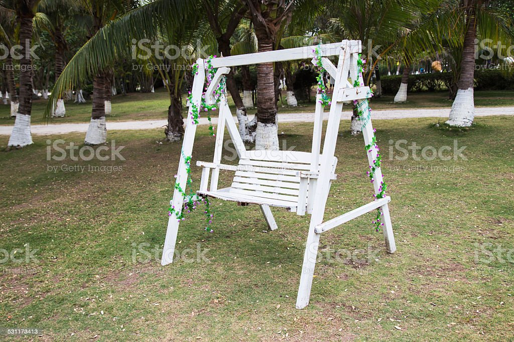 Swing, Wood, Chair, Adirondack Chair stock photo