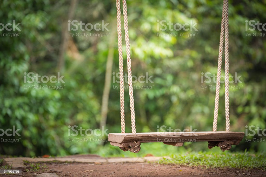 Swing wooden seat hanging by rope with green background stock photo