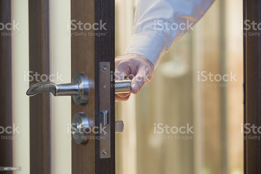 Swinging door stock photo