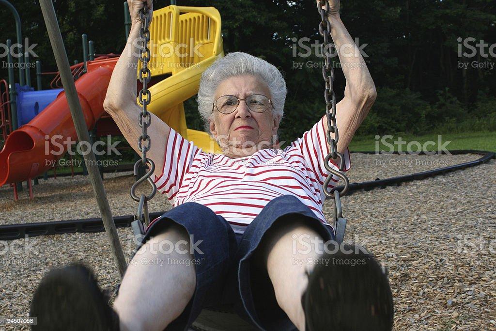 Swinging Grandmother 11 stock photo