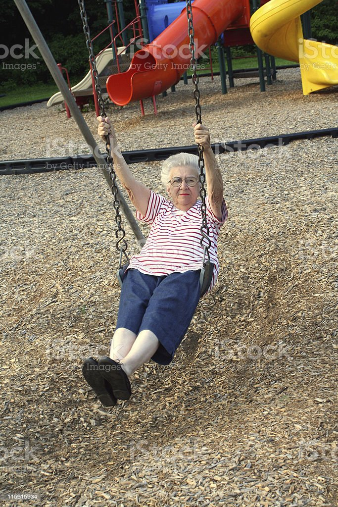 Swinging Grandmother 6 stock photo