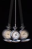 Swinging pocket watch hypnosis on black