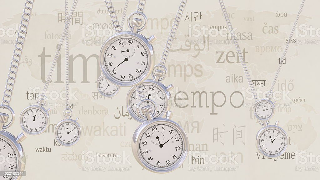 Swinging retro stopwatches against same captions in many languages. Time stock photo