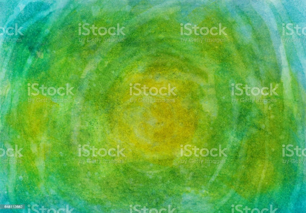 Swirl green blue hand painted watercolor and ink background vector art illustration