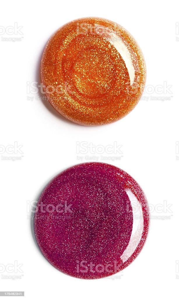 Swirl of nail polish, overhead view stock photo