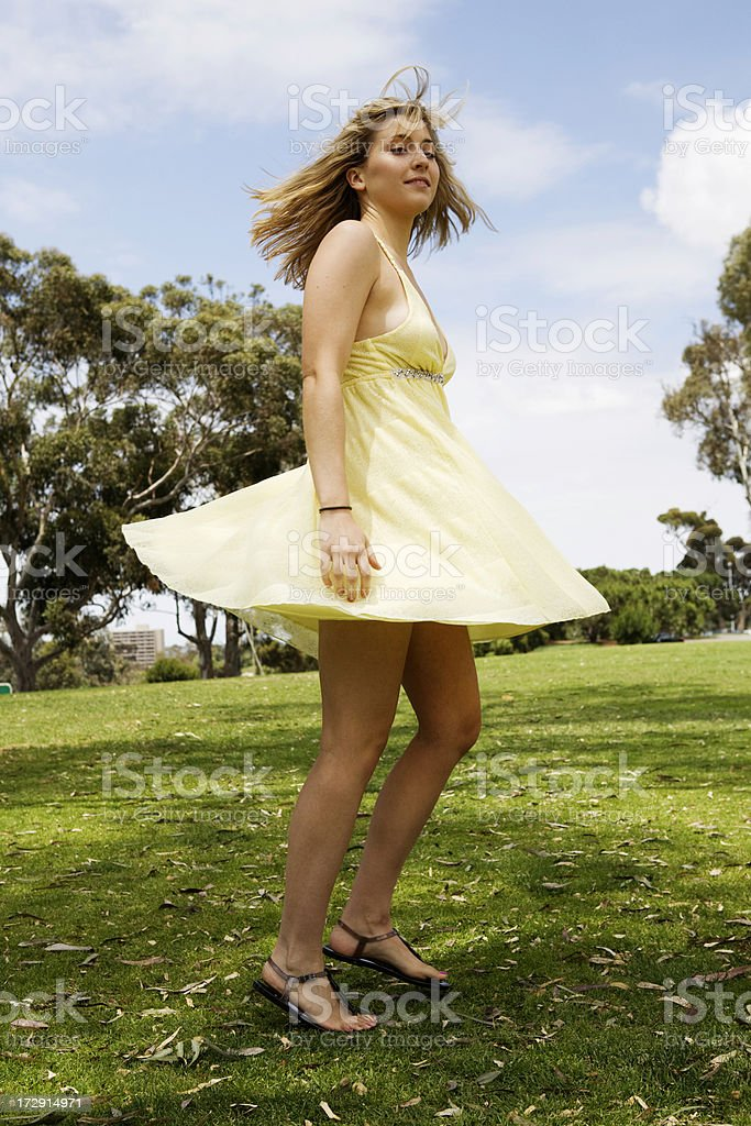 Swirling Girl stock photo
