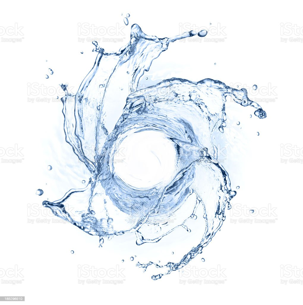swirling water splash stock photo