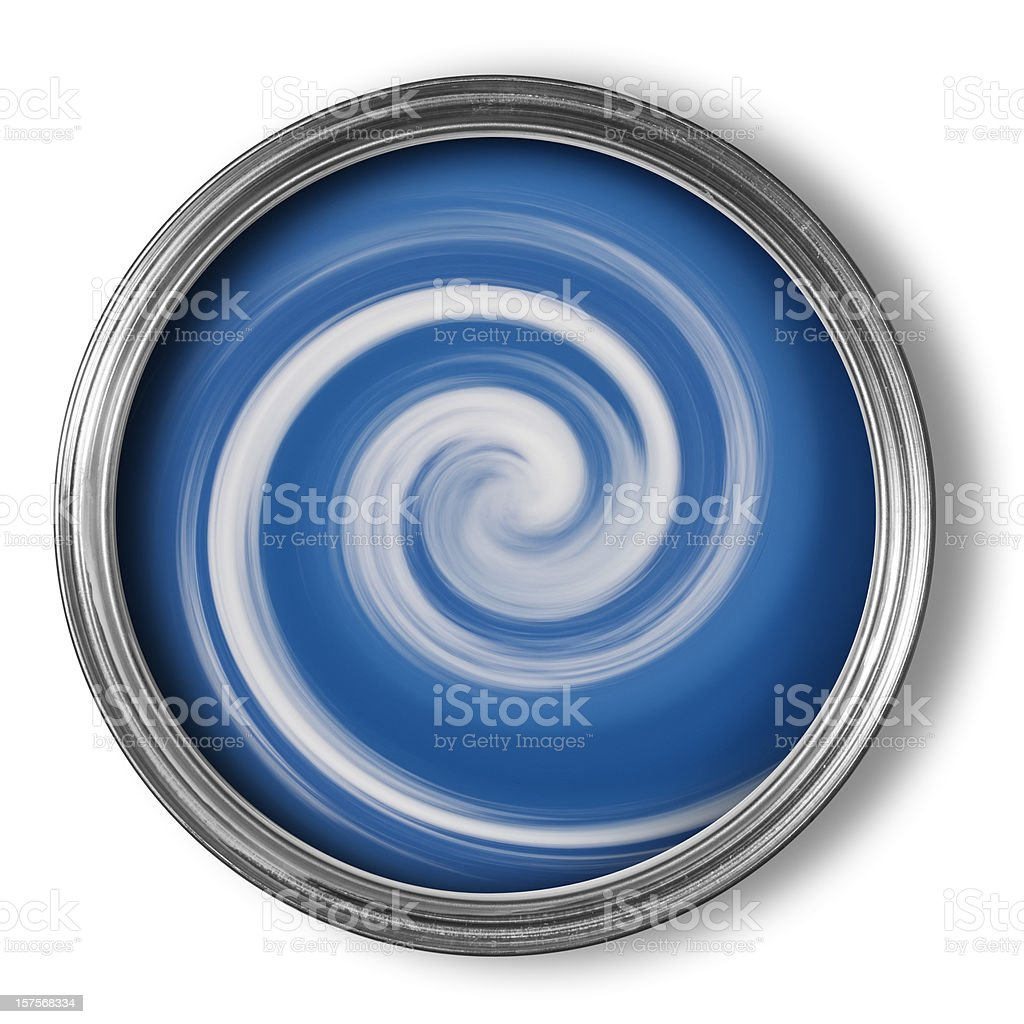 Swirls of mixing paint in open paint tin on white stock photo