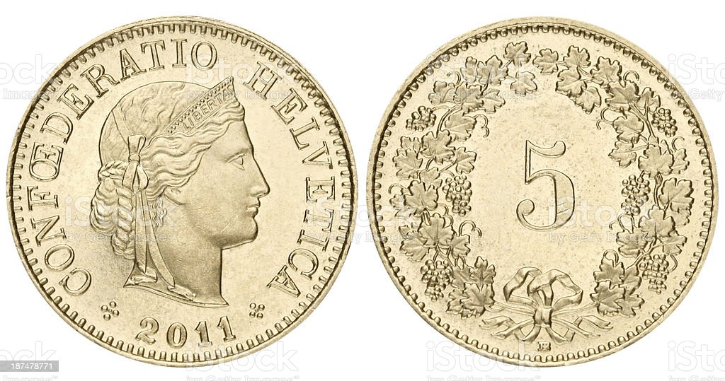 Swiss 5 centimes coin on white background stock photo
