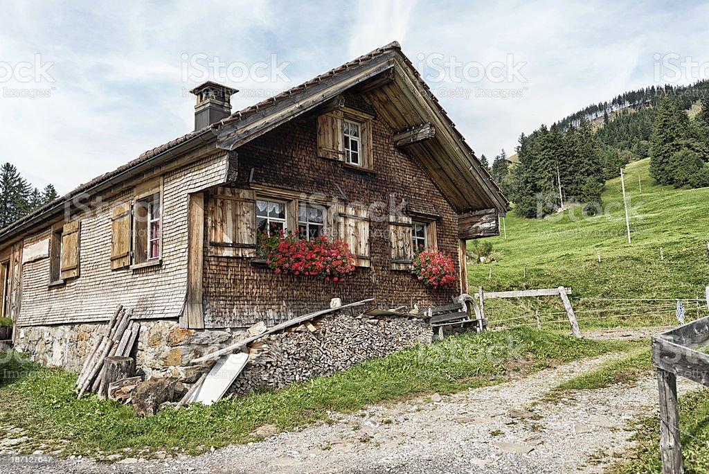 swiss alpine chalet royalty-free stock photo