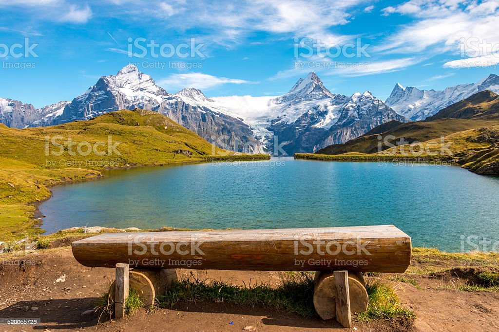 Swiss Alpine Lake stock photo