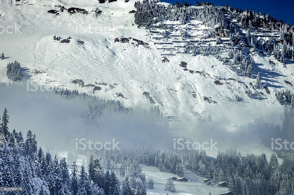Swiss Alpine landscape, Obersimmental, with fall color detail stock photo