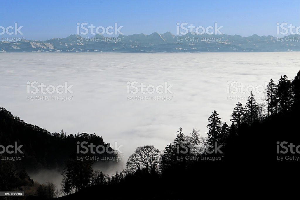 Swiss Alps above infinite clouds royalty-free stock photo