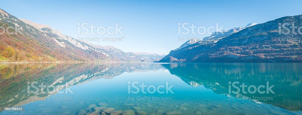 Swiss Alps and a lake near the city of Bern stock photo