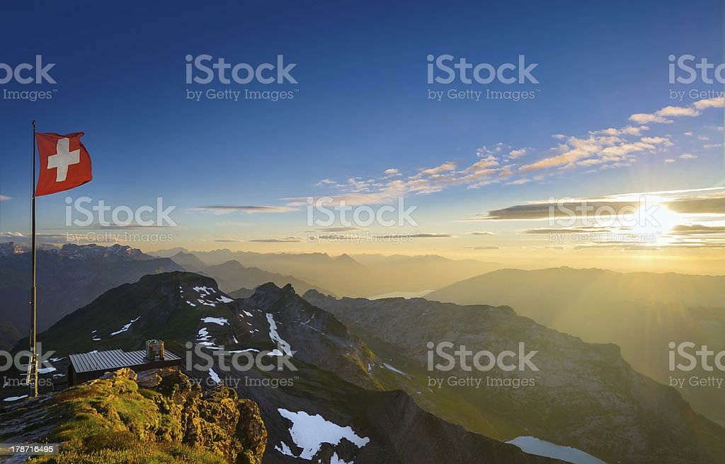 Swiss Alps at Sunset stock photo