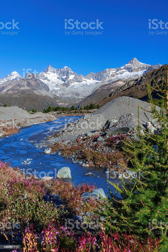 Swiss Alps during autumn stock photo