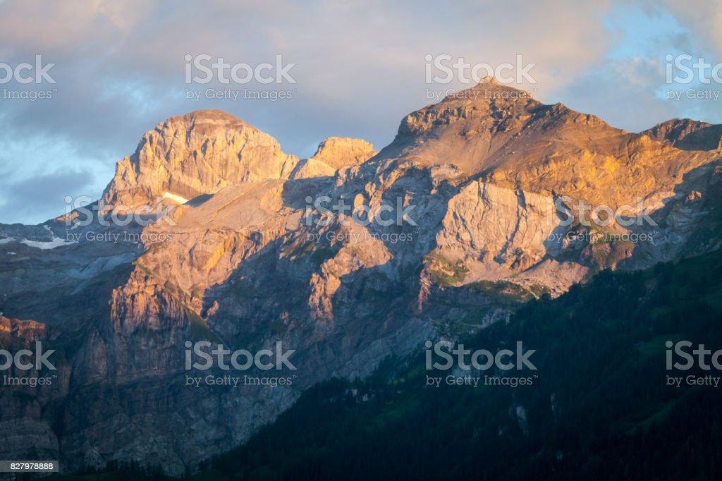 Swiss Alps Evening Sunlight stock photo
