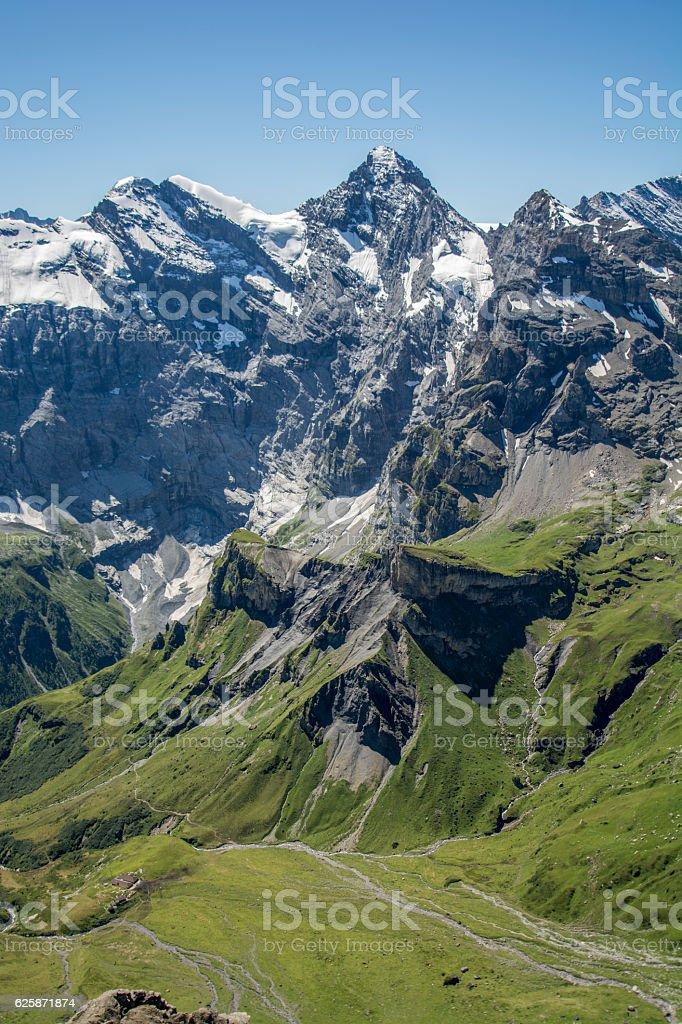 swiss alps from schilthorn/piz gloria stock photo