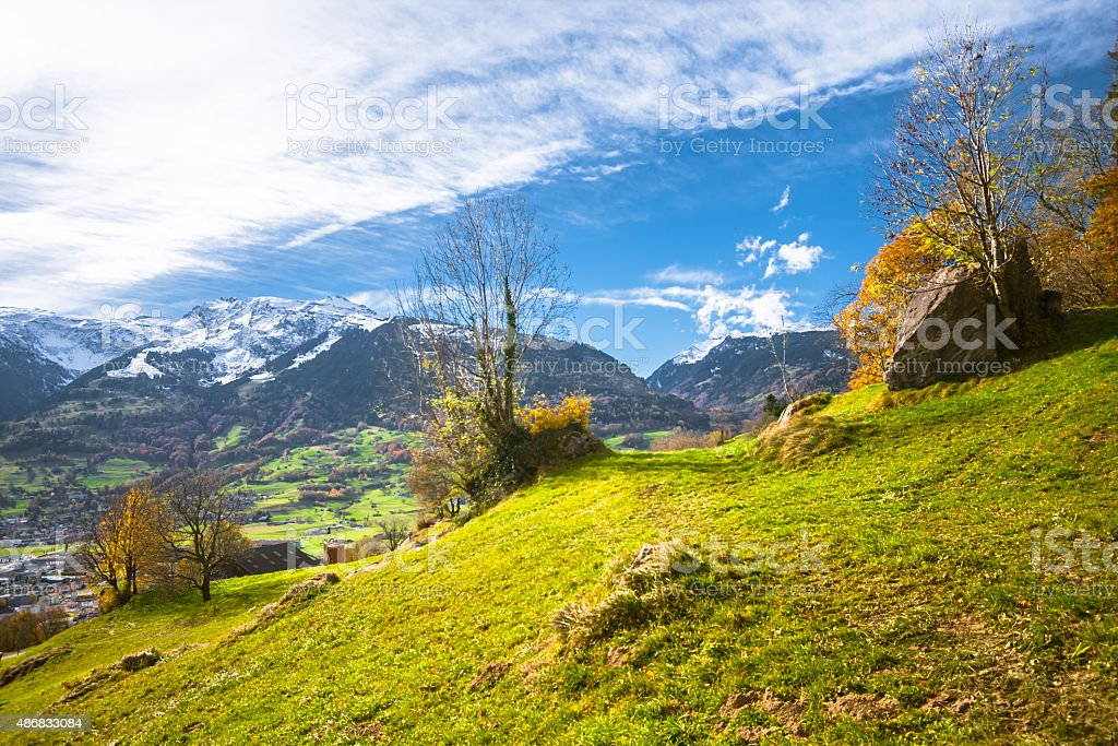 Swiss Alps in Sargans stock photo