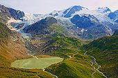 Swiss Alps landscape, Glacier Lake, Susten Pass, Andermatt