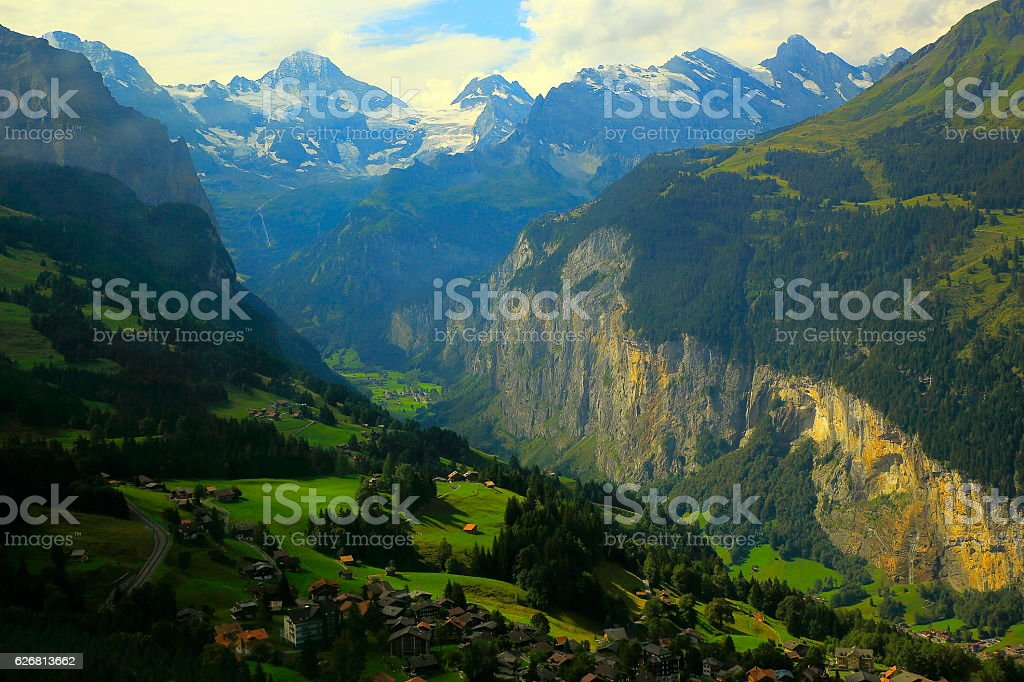 Swiss alps landscape: Wengen alpine village, above Lauterbrunnen valley stock photo