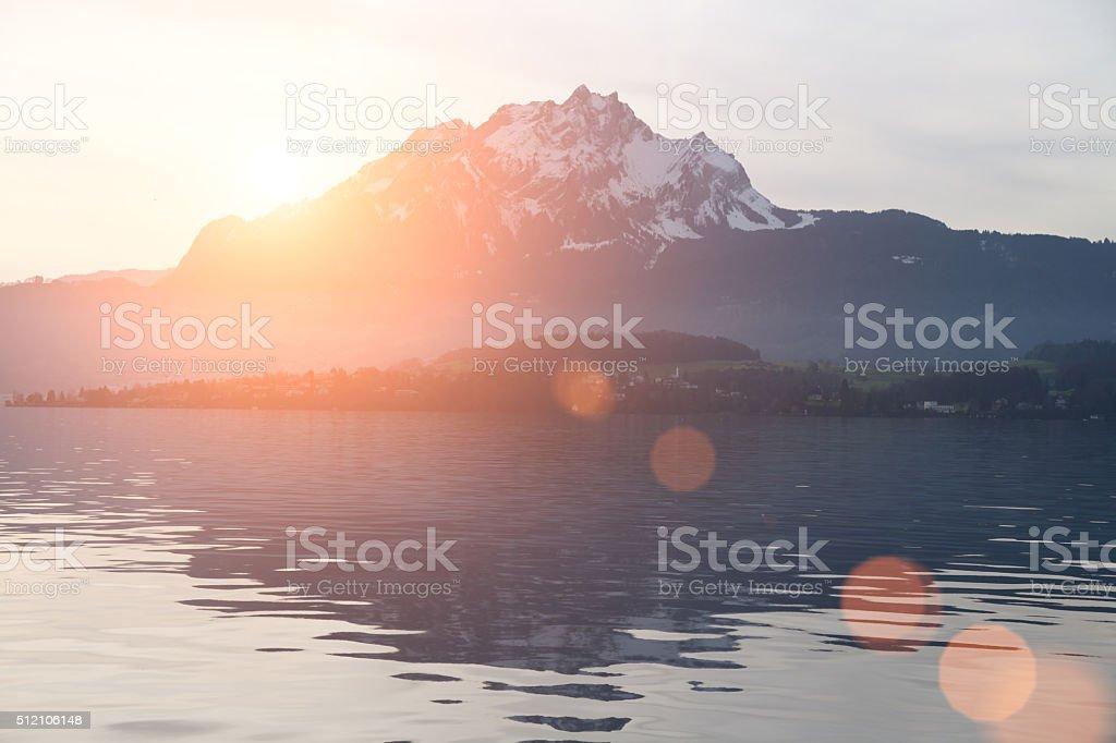 Swiss Alps Lucerne lake sunset stock photo