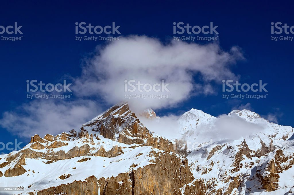 Swiss Alps mountain top stock photo
