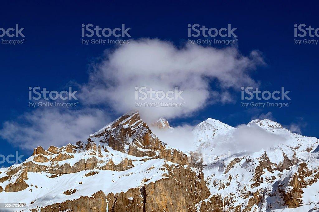 Swiss Alps mountain top stock photo
