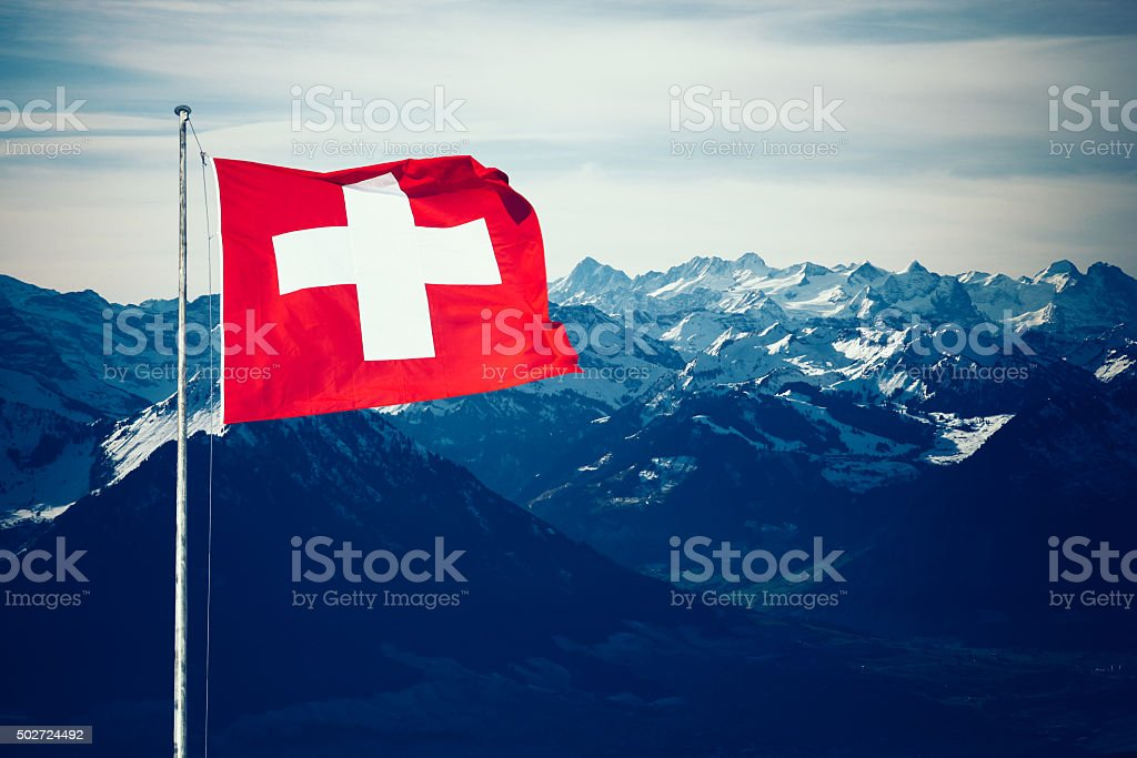 Swiss Alps mountains in winter stock photo