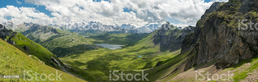 Swiss Alps near Melchsee Frutt stock photo