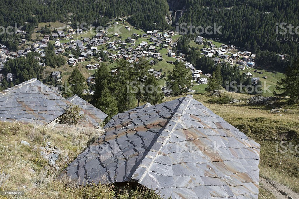 Swiss Alps over Zermatt stock photo