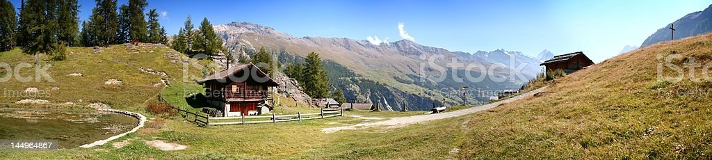Swiss Alps panorama: Lac d'Arbey, Evol?ne - Switzerland royalty-free stock photo